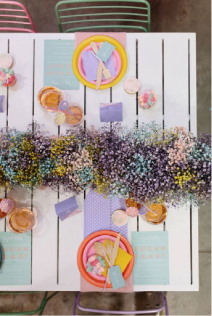 pastel flower blossoms and table setting
