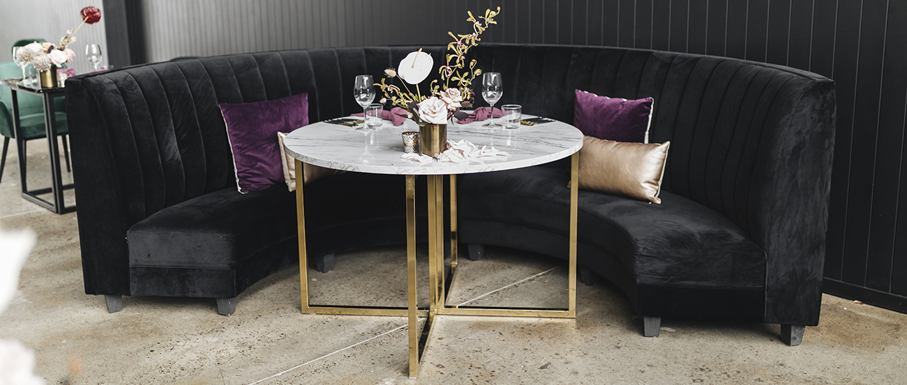 Velvet Stools with Chrome table