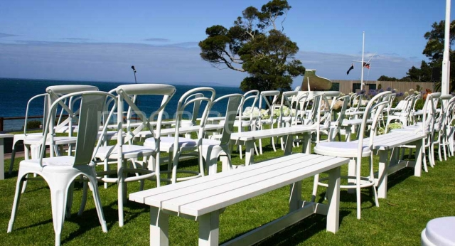 Features: Tolix, Hampton and Bentwood Chairs with White Benches