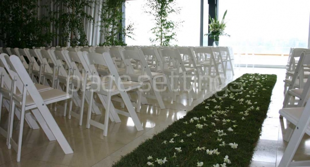 Features: White Padded Folding Chair