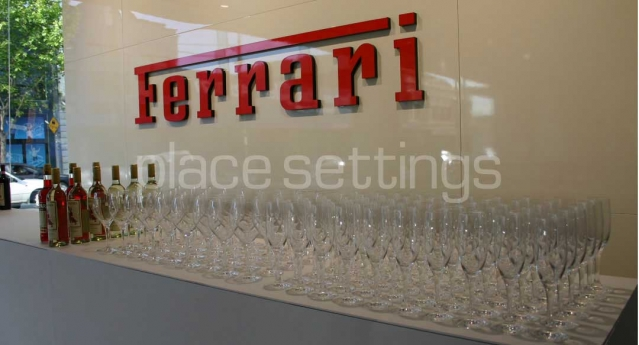 Features: White High Bar & Crystal Glassware