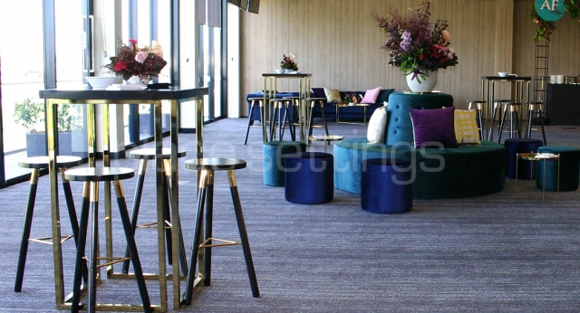 Gold Cocktail Tables and Blue Velvet Lounges