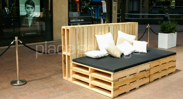 Black Couch made of crates