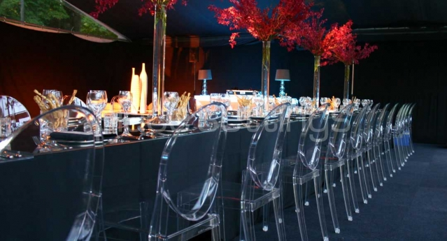 Features: Clear Victoria Ghost Chairs