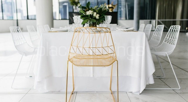 Features: White & Gold Arrowe Chairs