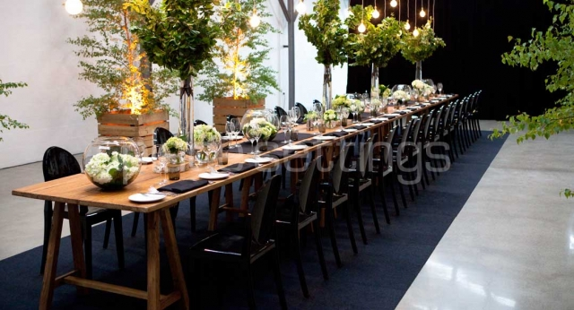 Features: Coastal Dining Trestle and Victoria Ghost Chairs
