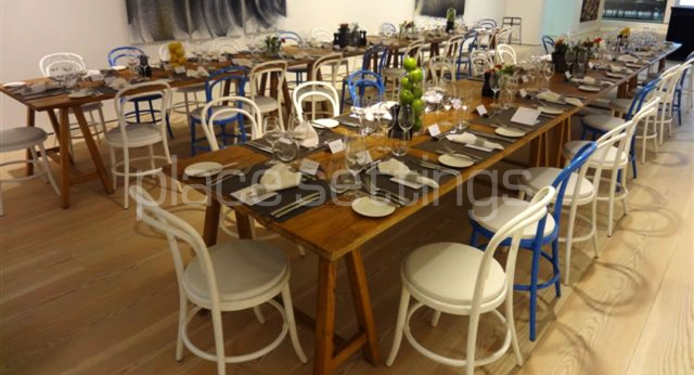 Features: Coastal Dining Trestles and Bentwood Chairs