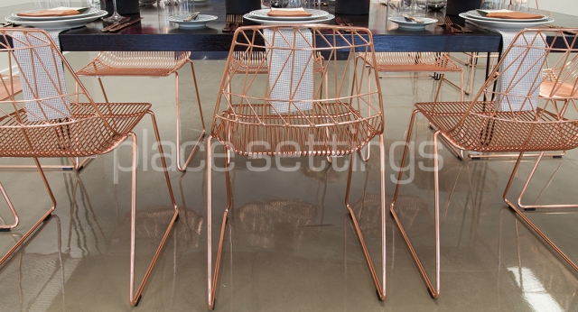 Features: Black Hairpin Dining Table with Copper Arrowe Chairs