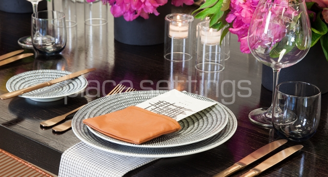 Features: Black Hairpin Dining Table & Zen Crockery