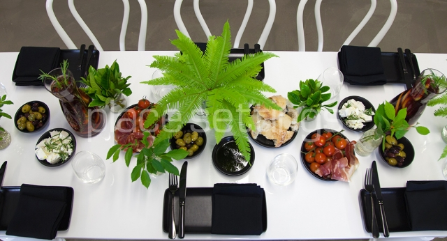 Features: White Tapas Table, Tapas Crockery & Black Cutlery
