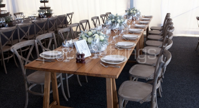 Wooden function table setting