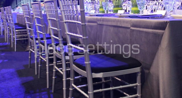 Features: Silver Tiffany Chairs & Trestle Tables