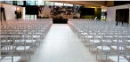 White Chairs Set for Wedding Ceremony